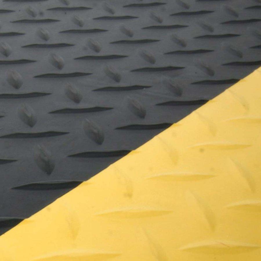 Černo-žlutá gumová metrážová protiúnavová průmyslová laminovaná rohož - výška 1,4 cm