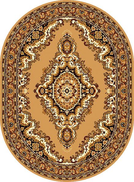 Béžový orientální kusový oválný koberec Teheran-T - délka 290 cm a šířka 200 cm