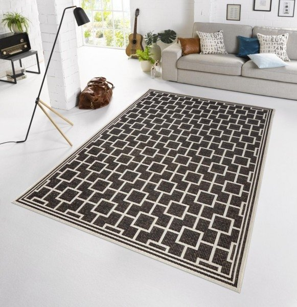 Černý kusový moderní koberec Botany
