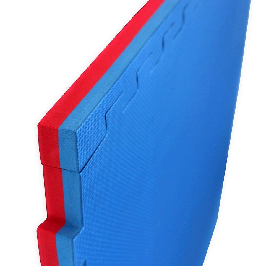 Červeno-modrá oboustranná puzzle Tatami podložka - délka 100 cm, šířka 100 cm a výška 4 cm