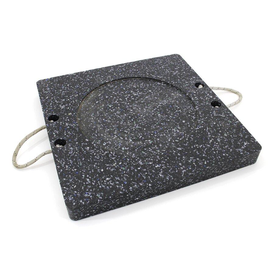 Černá plastová čtvercová podložka pod patku - 20,5 kg x 60 x 60 cm a tloušťka 6 cm