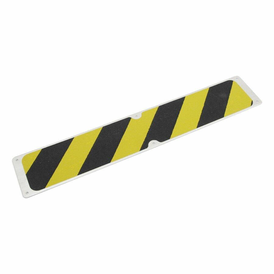 Černo-žlutý hliníkový protiskluzový nášlap na schody FLOMA Hazard Bolt Down Plate - 63,5 x 11,5 cm
