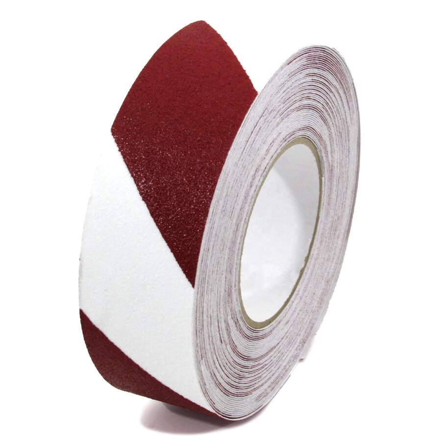 Bílo-červená korundová podlahová páska - 18,3 m x 5 cm