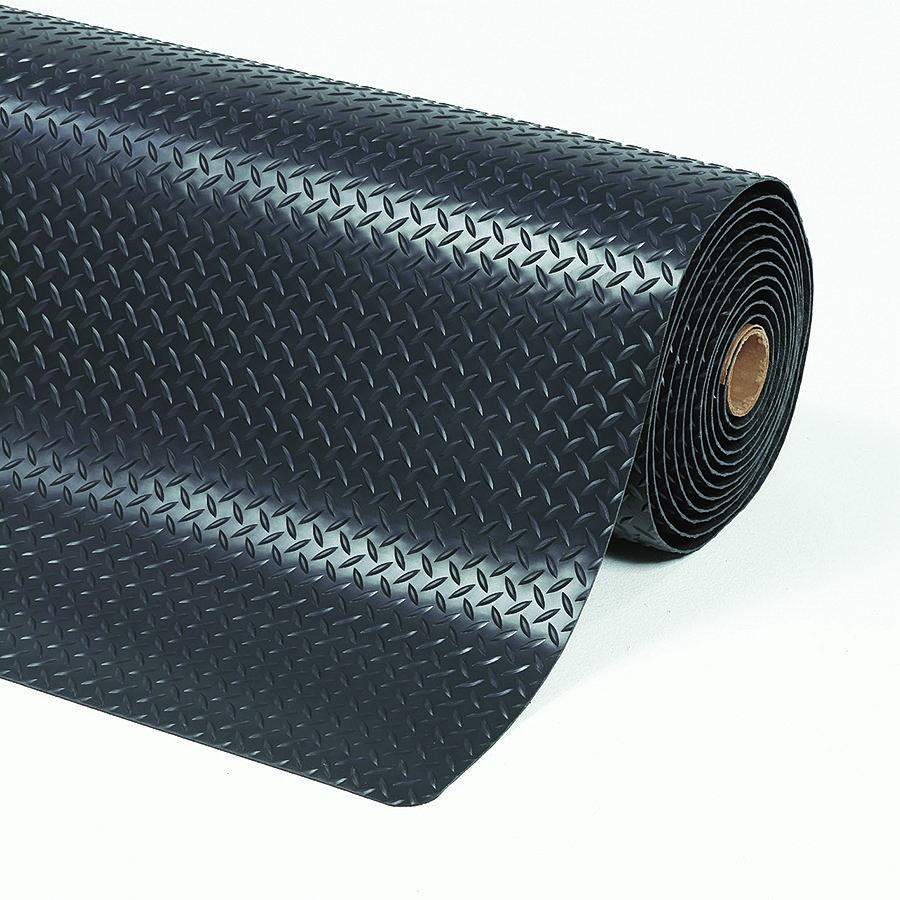 Černá protiúnavová průmyslová laminovaná rohož Cushion Trax - délka 22,8 m, šířka 152 cm a výška 1,4 cm