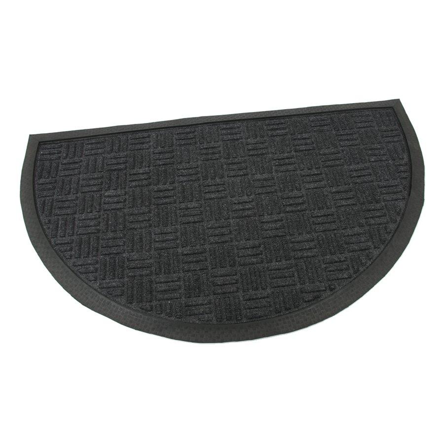 Černá textilní gumová vstupní čistící půlkruhová rohož Criss Cross, FLOMAT - délka 45 cm, šířka 75 cm a výška 0,8 cm