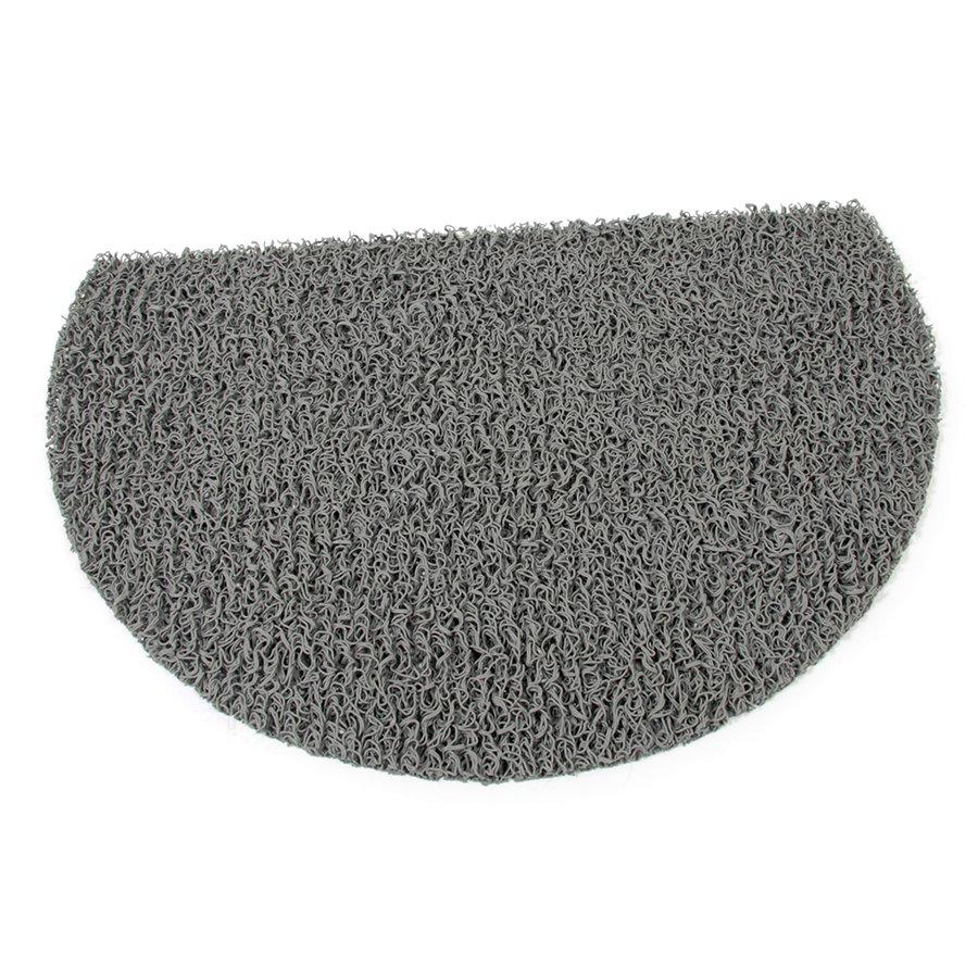 Šedá vinylová protiskluzová sprchová půlkruhová rohož Spaghetti, FLOMA - délka 40 cm, šířka 59,5 cm a výška 1,2 cm