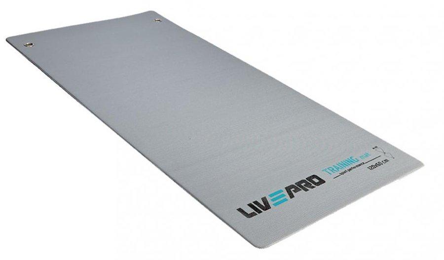Šedá gymnastická podložka na cvičení - délka 120 cm, šířka 60 cm a výška 0,7 cm