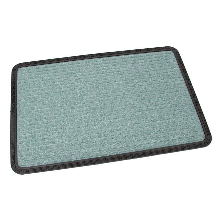 Zelená textilní vstupní venkovní čistící rohož Stripes, FLOMAT - délka 90 cm, šířka 60 cm a výška 0,8 cm