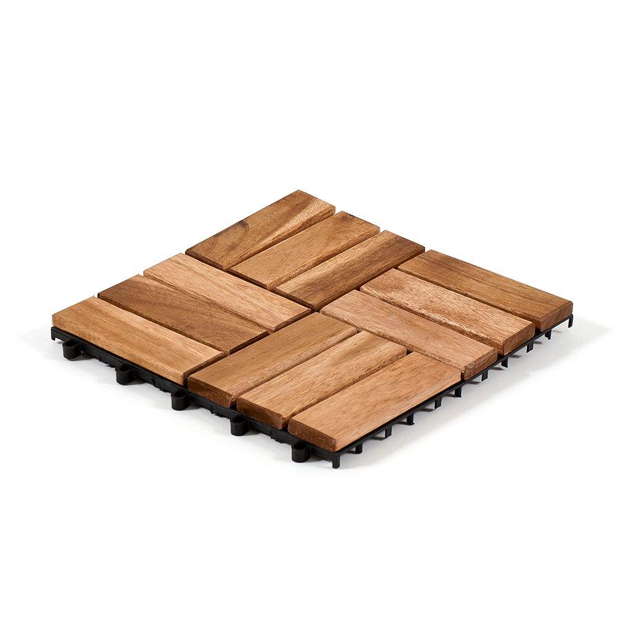 Dřevěná podlahová dlaždice - délka 30 cm, šířka 30 cm a výška 2,5 cm