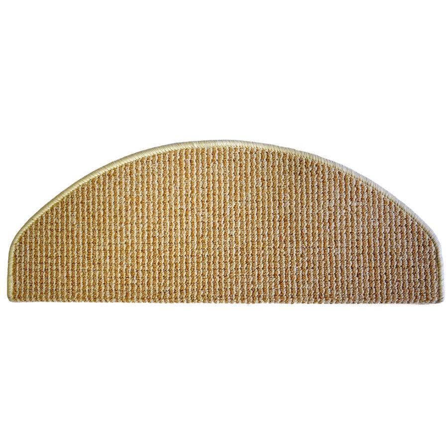 Béžový kobercový půlkruhový nášlap na schody Barcelona - délka 65 cm a šířka 28 cm