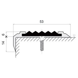 Žlutá hliníková schodová hrana s protiskluzovým páskem Antislip, FLOMA - délka 100 cm, šířka 5,3 cm a výška 2 cm