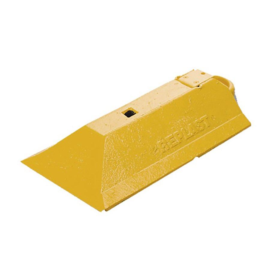 """Žlutá plastová koncovka """"samice"""" pro vodící prahy """"CZ 3"""" - délka 49 cm, šířka 24,8 cm a výška 9 cm"""