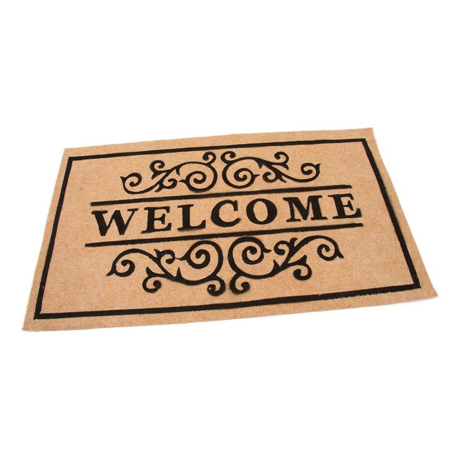 Béžová textilní vstupní čistící vnitřní rohož Welcome - Deco, FLOMAT - délka 45 cm, šířka 75 cm a výška 0,3 cm