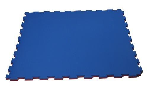 Červeno-modrá pěnová modulární podložka - délka 100 cm, šířka 100 cm a výška 2,5 cm