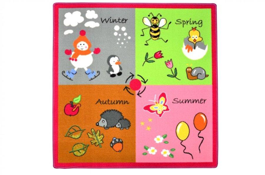 Různobarevný kusový dětský hrací koberec - délka 100 cm a šířka 100 cm