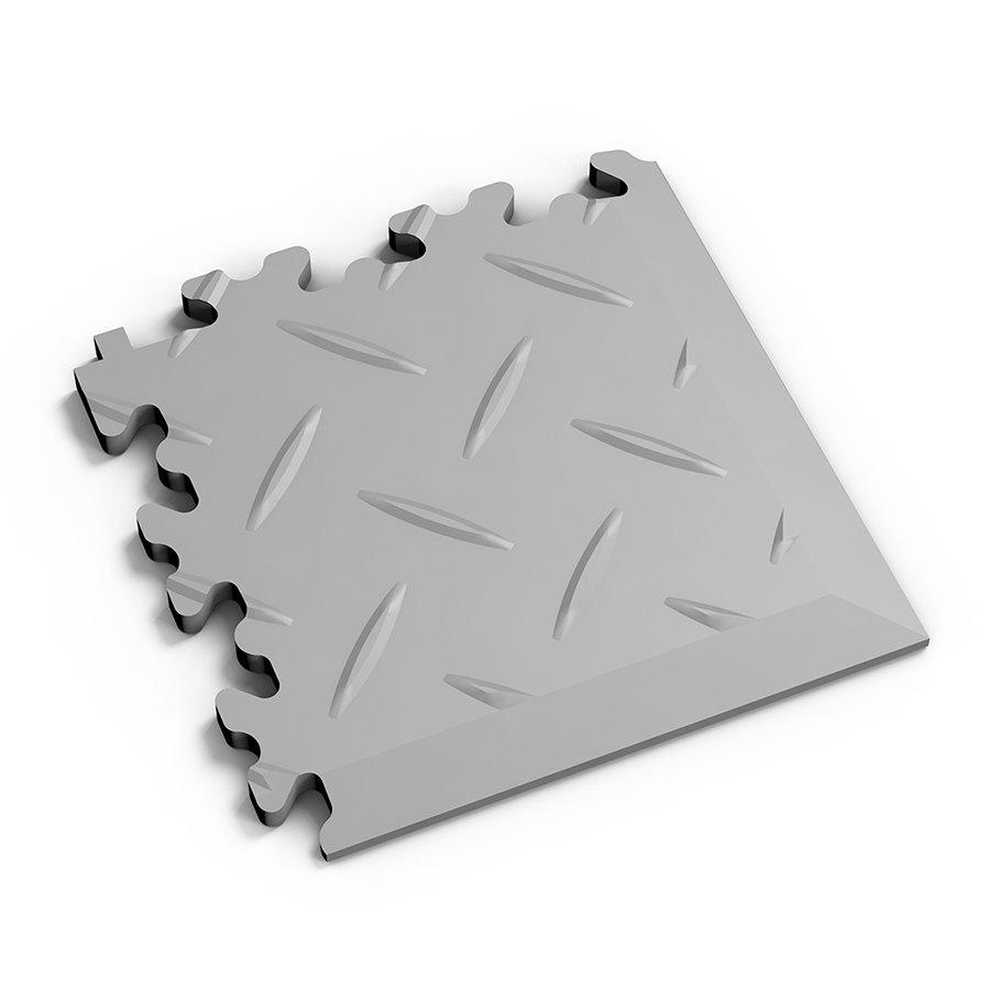 Šedý plastový vinylový rohový nájezd 2016 (diamant), Fortelock - délka 14 cm, šířka 14 cm a výška 0,7 cm