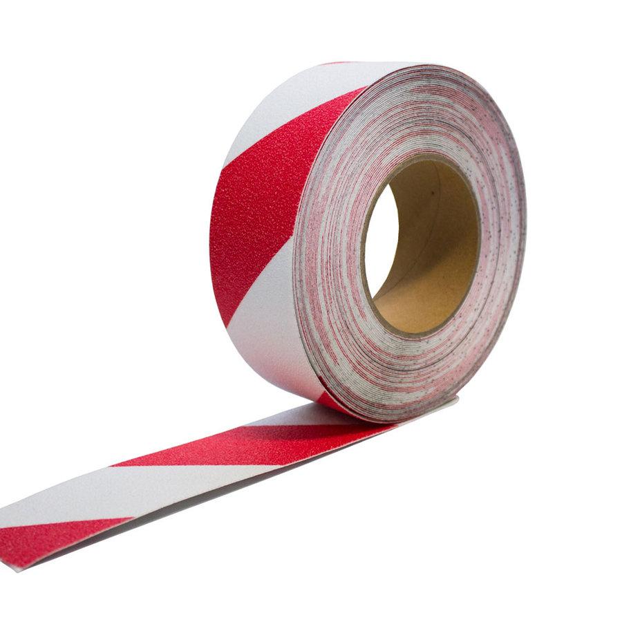 Bílo-červená korundová protiskluzová páska - délka 18,3 m a šířka 5 cm