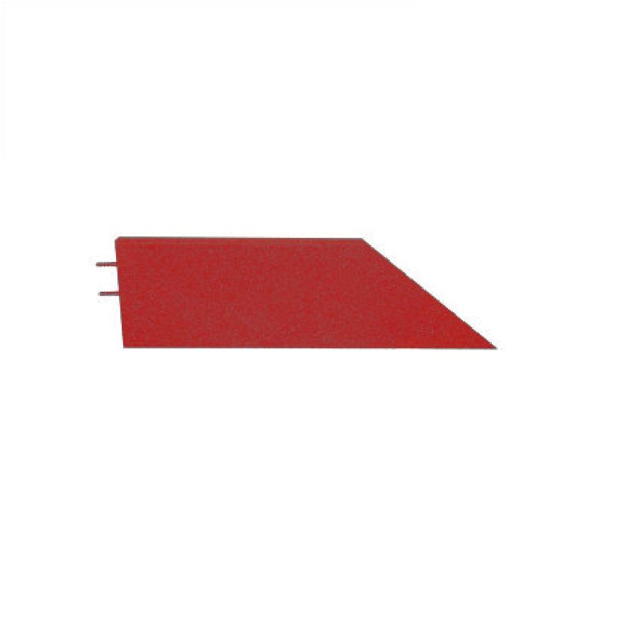 Červený levý nájezd (roh) pro gumové dlaždice - délka 75 cm, šířka 30 cm a výška 5 cm