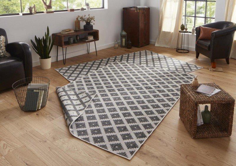 Šedý oboustranný kusový moderní koberec Twin-Wendeteppiche - délka 170 cm a šířka 120 cm