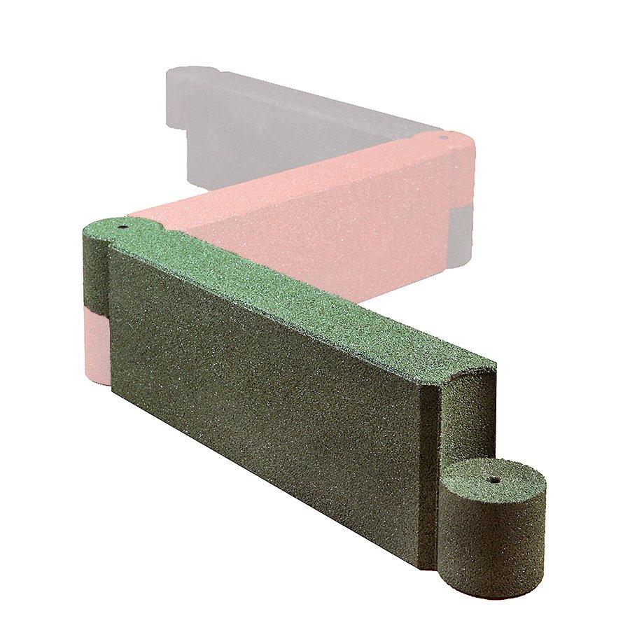 Zelený gumový dopadový obrubník OB4 FLOMA - délka 115 cm, šířka 15 cm a výška 30 cm