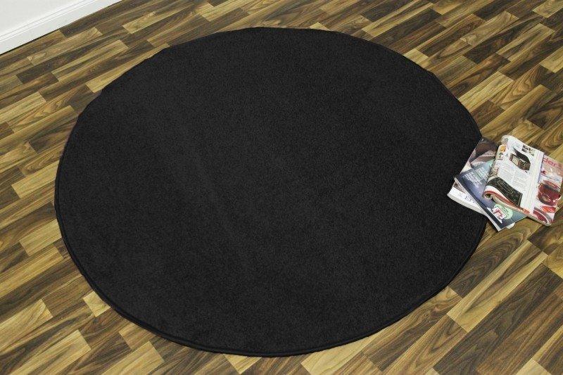 Černý kusový kulatý koberec Nasty