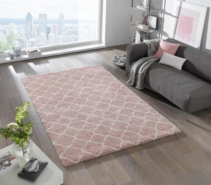 Růžový kusový moderní koberec Shaggy s vysokým vlasem