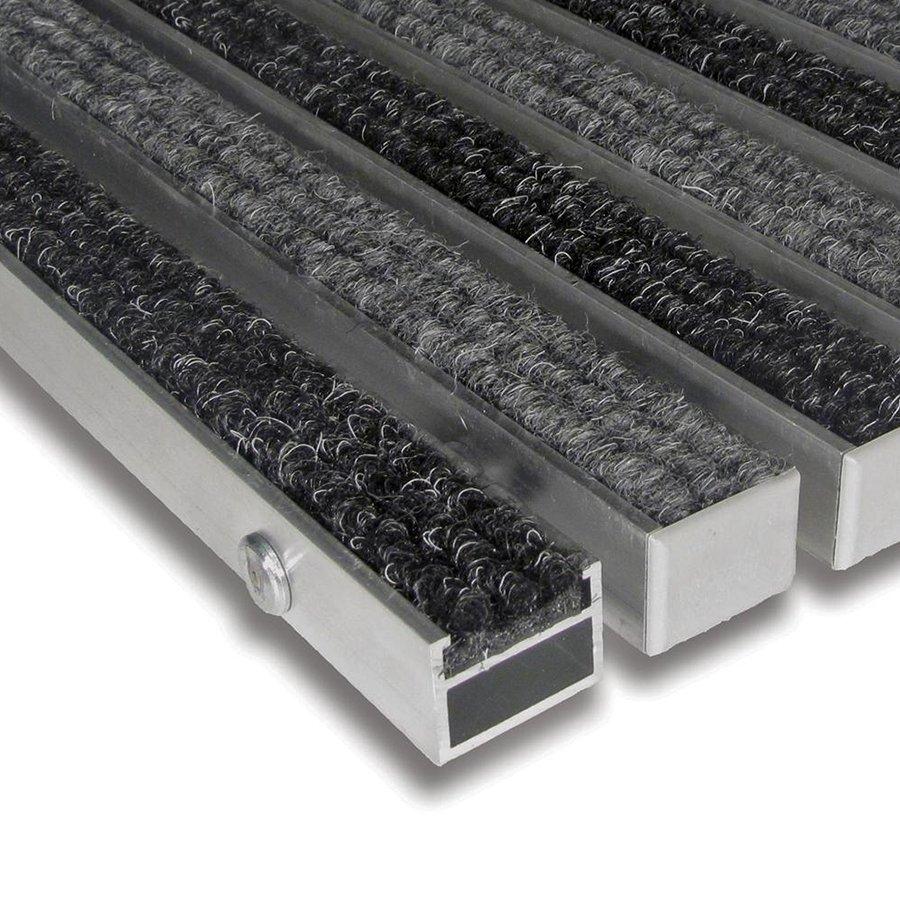 Textilní hliníková vnitřní vstupní rohož Alu Standard, FLOMAT (Bfl-S1) - délka 1 cm, šířka 1 cm a výška 2,7 cm