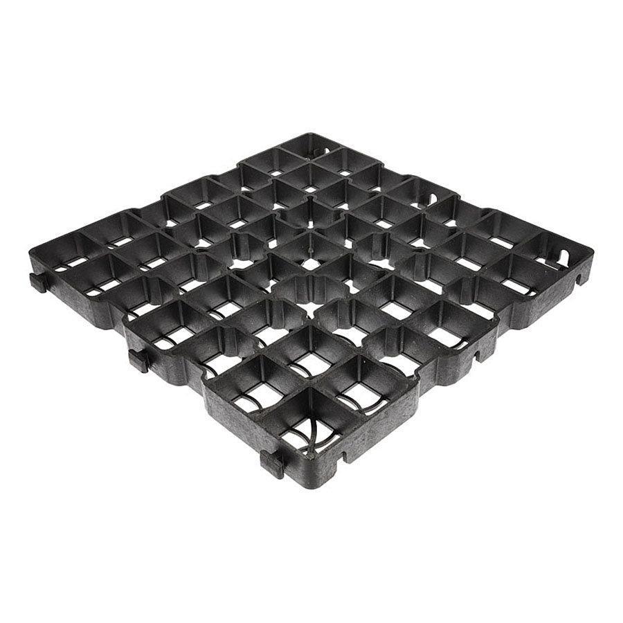 Černá plastová zátěžová zatravňovací dlažba GE40 MAX - délka 50 cm, šířka 50 cm a výška 4 cm