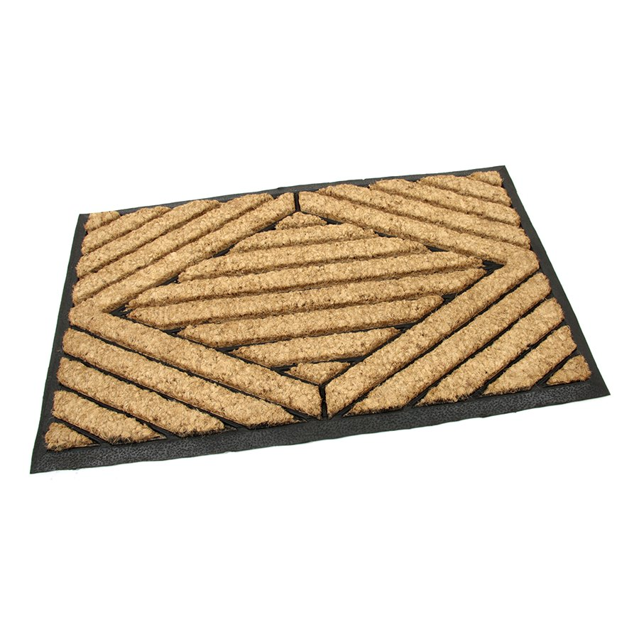 Kokosová čistící venkovní vstupní rohož Rectangle - Stripes, FLOMAT - délka 45 cm, šířka 75 cm a výška 2,2 cm