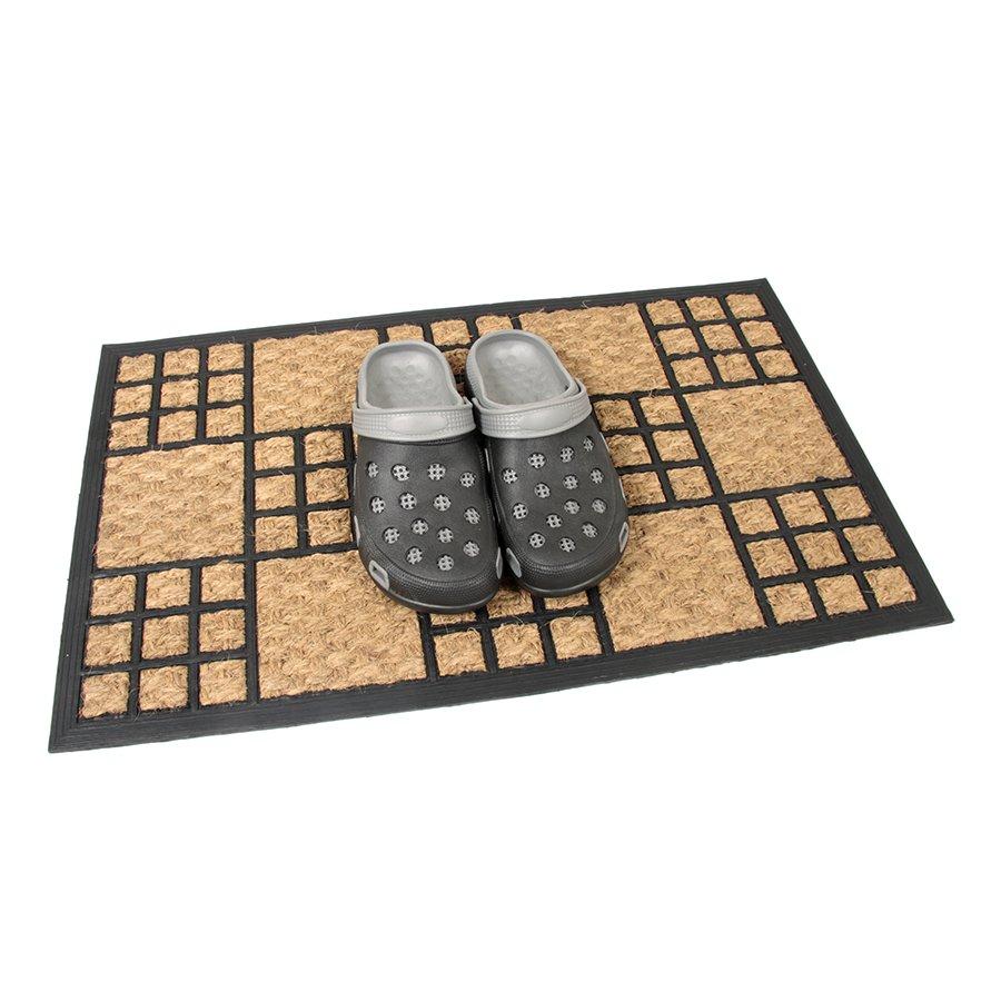 Kokosová čistící venkovní vstupní rohož Square Mix, FLOMA - délka 45 cm, šířka 75 cm a výška 1 cm