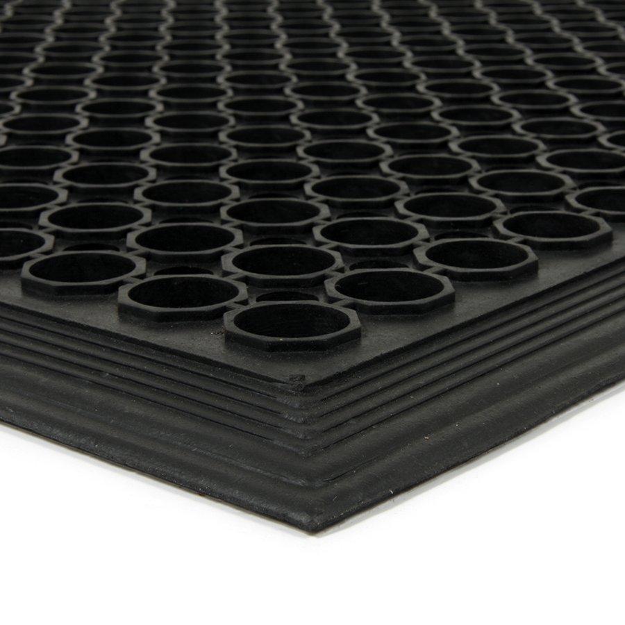 Černá gumová průmyslová protiúnavová protiskluzová olejivzdorná rohož (75% nitrilová pryž) Workmate, FLOMAT - délka 60 cm, šířka 90 cm a výška 1,4 cm